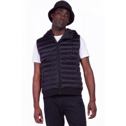 Body Action - Men Zip-Through Padded Vest With Hood - 073924-ΒLΑCΚ