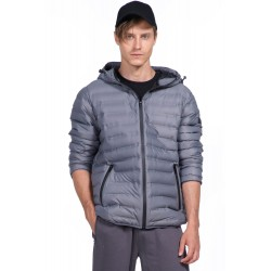 Body Action Men Quilt Padded Jacket With Hood (073926-GREY)