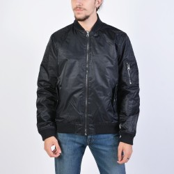 Body Action Vintage Bomber Jacket 073927 - ΒLΑCΚ