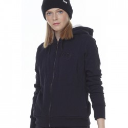 WOMEN FUR LINED HOODIE 071013-01-BLACK