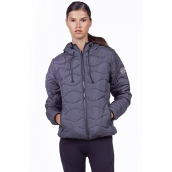 BODYACTION WOMEN QUILT PADDED JACKET WITH HOOD 071932-01 BLACK