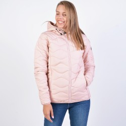 BODYACTION WOMEN QUILT PADDED JACKET WITH HOOD 071932-01 Ρόζ