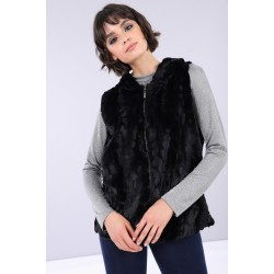 FREDDY FAUX-FUR VEST WITH HOOD AND ANIMAL PRINT LINING F9WALJ2